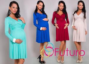 Elegant Womens Maternity Dress Long Sleeve V-Neck Pregnancy Sizes 8-18 8467
