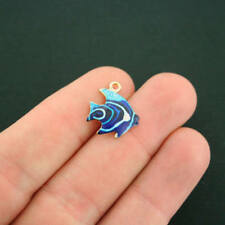 2 Tropical Fish Charm Gold Plated Enamel Fun and Colorful - E240