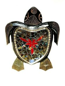 Turtle Mosaic Wood Carving Wall Garden Hanging Statue Brown By Zenda Imports