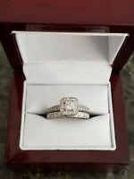 Wedding Bridal Engagement Ring Set White Gold Plated In 2 CTWT Princess Diamond