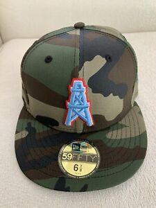 New Era Mens Houton Oilers Custom Woodland Camo Pop 59Fitfty 5950 Sz 6 7/8 NEW