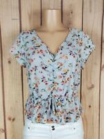 DAILY SPECIAL Womens Jr Size Medium Cap Sleeve Floral Print Poly Peplum Top