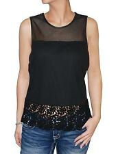 INC Women's Blouse Sleeveless Crocheted Lace Trim Mesh Top (Black, 12)
