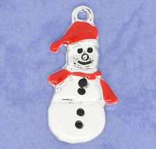 4 x Enamel Snowman Silver Plated Christmas  Pendant Charms Xmas