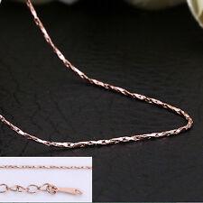 Wholesale 18K Rose Gold GP 0.5mm Thin Chain Necklace 18'' / 46cm + 5cm