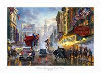 Thomas Kinkade Studios Batman Superman Wonder Woman 12 x 18 S/N LE Paper