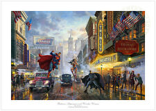 Thomas Kinkade Batman, Superman and Wonder Woman 24 x 36 G/P LE Paper DC Comic