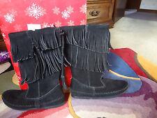 Ladies MINNETONKA Black  Moccasin Fringe Boots Size 9 New SALE