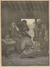 A3493 Presepio - Incisione - Stampa Antica del 1891
