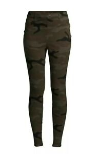 New Womens Medium 8-10 Green Camo Jeggings Time and Tru High Rise Ankle Fitted