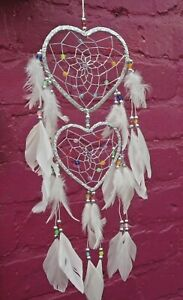 White & Silver Heart DREAM CATCHER with Feathers & Beads  48 Cm With Hook