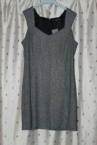 Mango Ladies Lined Grey Sleeveless Dress With Stretch ~ Size L ~ NWT