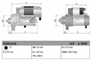 DENSO STARTER MOTOR FOR A TOYOTA LAND CRUISER CLOSED OFF-ROAD 4.5 210KW