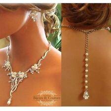 Crystal Bridal Backdrop Necklace & Earrings Wedding Jewelry Set
