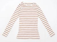 Primark Womens Size 4-6 Striped Cotton Blend Brown Long Sleeve T-Shirt (Regular)