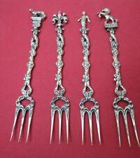 Set 4 Antique Vintage 800 Silver Figural Cocktail Forks Italy