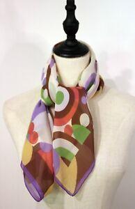 MARC JACOBS ~ Authentic Purple Green Brown White Geometric Italian Silk Scarf