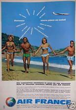 PUBLICITÉ 1961 AIR FRANCE BOEING INTERCONTINENTAL ET CARAVELLE - ADVERTISING