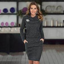 Womens Winter Turtleneck Package Hip Slim Pencil Business Cocktail Mini Dress