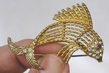 Vintage Jewelry Figural Goldtone Fish Brooch Signed BSK