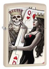 "Zippo Lighter ""Skull Card King"" No 29393 on cream matte finish - New"