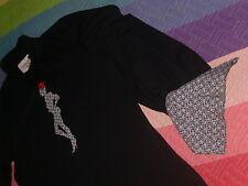 Camisa Dolores Promesa polo jersey negro con cuello fino no agobia sin botones S