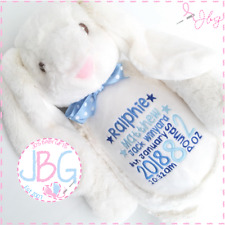 Personalised Teddy Bear, Boys Bunny Rabbit,New baby/Christening/Birthday Gift