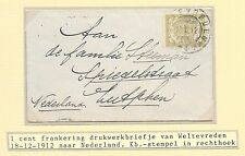 Netherlands Indies covers 1912 1c small cover to Zutphen