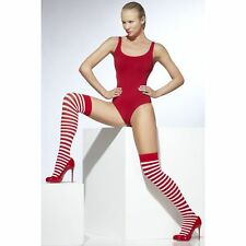 Red & White Striped Stockings Miss Santa Christmas Fancy Dress Accessories 42768