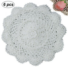 "6pcs 10"" Round Crochet Lace Doily White 100 Cotton Handmade Set of 6"