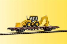 Kibri 26260 Low-Sided Wagon with Backhoe Loaders JCB 4CX 4x4x4,Finshed Model,H0