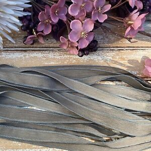 Hand Dyed Silk Ribbons, Taupe Qty 5 JamnGlass Crinkle Gray Brown Silk Strings