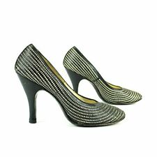 Rare Vintage 1940s Andrew Geller Basketweave Woven Leather Mid Heel Pumps Shoes