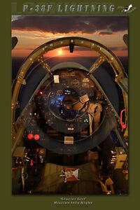 P-38F Lightning Cockpit Poster