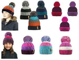 NEW Boys Girls Kids Thermal Insulated Winter Warm Bobble Hat Beanie Knitted Pom