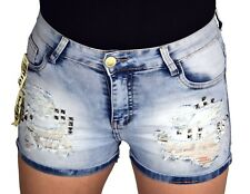 Womens Ladies Ripped Shorts Denim Jeans Studded High Waist Stretch 4 6 8 10 12