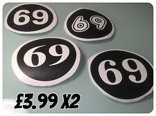 vespa lambretta scooter Decals numbers various colours Sticker Decals 8cms x2