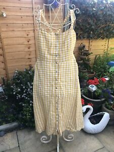 cynthia rowley New York. 100% Linen Gingham  Mustard Sun Dress 16