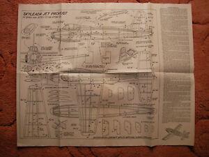 "Skyleada Plans of Jet Provost a 16"" span scale Jetex model"