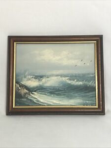 "Lovely Original Vintage Oil Painting Seascape Framed 11"" X 9"" VGC"