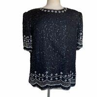LAURENCE KAZAR Women's XL Black Embellished Sequins Beaded Short Sleeve Blouse