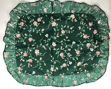 Cannon Single Pillowcase Green Floral Pink Roses Ruffled Cottage Country Prairie