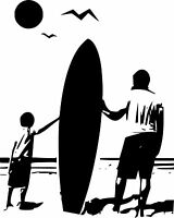 Dad&Son Surfing surf car graphic JDM VW VAG EURO Vinyl Decal Sticker Skate