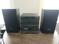 Panasonic SA-DH44 Dual Cassette Deck Sound System with Speakers