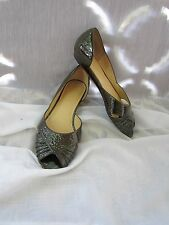 Talbots Brown Leather Shoes Open Toe Flats Size 8.5M Slip On