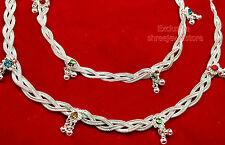 Designer Belly Dance Silver Stones Kundan Ethnic Payal Anklets Party Jewelry Set