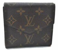 Auth Louis Vuitton Monogram Porte Monnaie Billets Bifold Wallet M61660 LV A9950