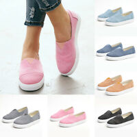 Womens Slip On Round Toe Flats Casual Sneaker Trainer Solid Loafers Canvas Shoes