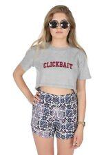 Clickbait Crop Top Shirt Tee Cropped Graphic David Dobrik Varsity Click Bait