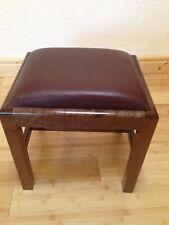 REAL WOODEN Beautiful Dark Walnut Brown leather Cowhide Ottomanpouf footstools